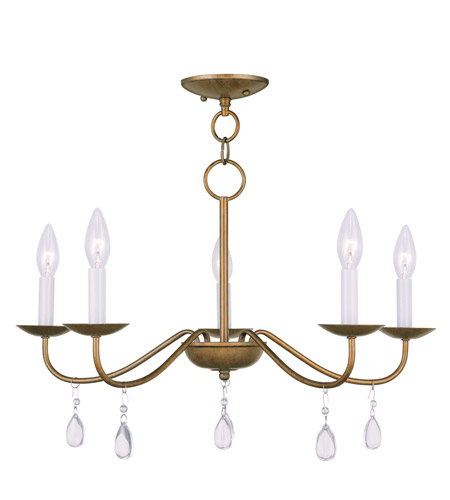 Livex 4845-48 Mercer 5 Light 24 inch Antique Gold Leaf Chandelier Ceiling Light photo