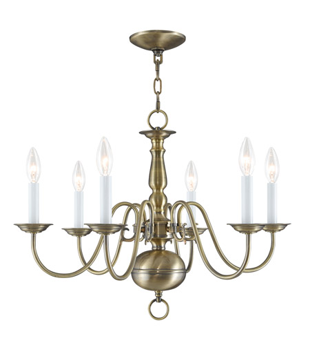 Livex 5006 01 williamsburgh 6 light 24 inch antique brass chandelier livex 5006 01 williamsburgh 6 light 24 inch antique brass chandelier ceiling light mozeypictures Image collections
