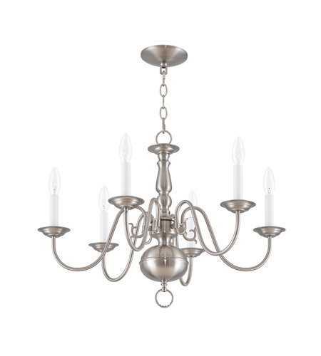 Livex 5006-91 Williamsburgh 6 Light 24 inch Brushed Nickel Chandelier Ceiling Light alternative photo thumbnail