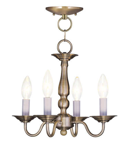 Livex Lighting Williamsburg 4 Light Pendant/Ceiling Mount in Antique Brass 5010-01 photo