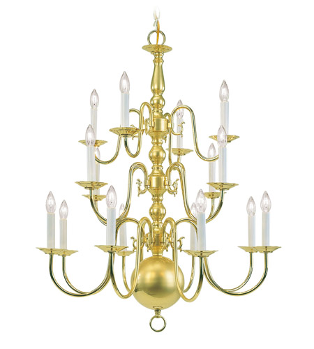 Livex Lighting Williamsburg 16 Light Chandelier in Polished Brass 5016-02 photo