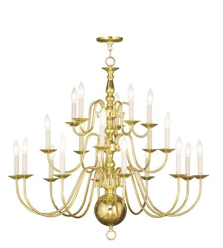 Livex Lighting Williamsburg 20 Light Chandelier in Polished Brass 5019-02 photo
