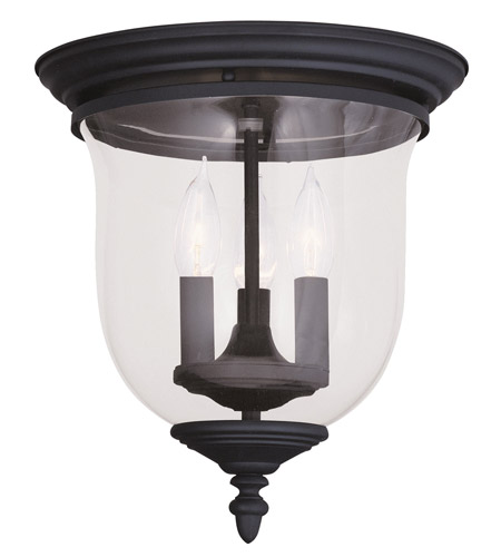 Livex 5021-04 Legacy 3 Light 12 inch Black Ceiling Mount Ceiling Light in Clear photo