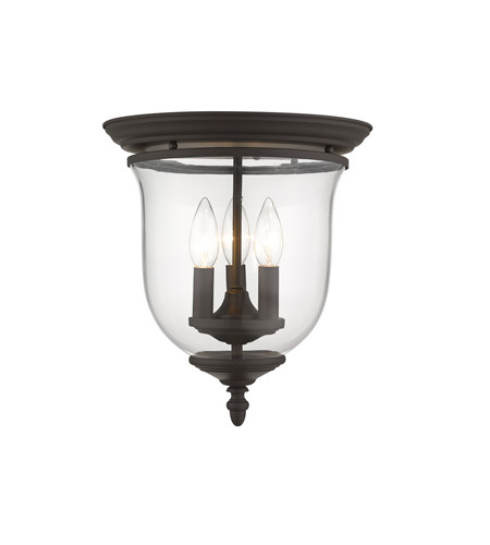 Livex 5021-07 Legacy 3 Light 12 inch Bronze Ceiling Mount Ceiling Light in Clear alternative photo thumbnail