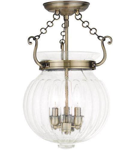 Everett 3 Light 12 Inch Antique Brass Flush Mount Ceiling Light