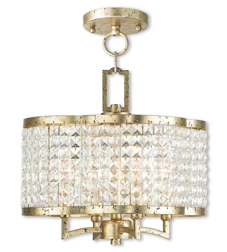 Livex 5057428 Grammercy 4 Light 14 inch Hand Applied Winter Gold – Flush Mount Mini Chandelier