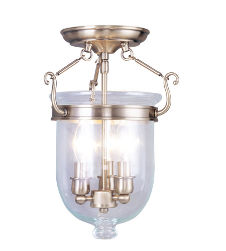 Livex 5061-01 Jefferson 3 Light 10 inch Antique Brass Ceiling Mount Ceiling Light in Clear photo thumbnail