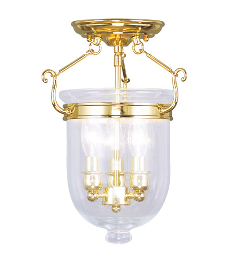 Livex 5061-02 Jefferson 3 Light 10 inch Polished Brass Ceiling Mount Ceiling Light in Clear photo