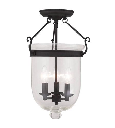 Livex 5062 04 Jefferson 3 Light 12 Inch Black Ceiling Mount In Clear