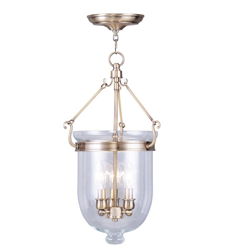 Livex 5063-01 Jefferson 3 Light 10 inch Antique Brass Pendant Ceiling Light in Clear photo thumbnail