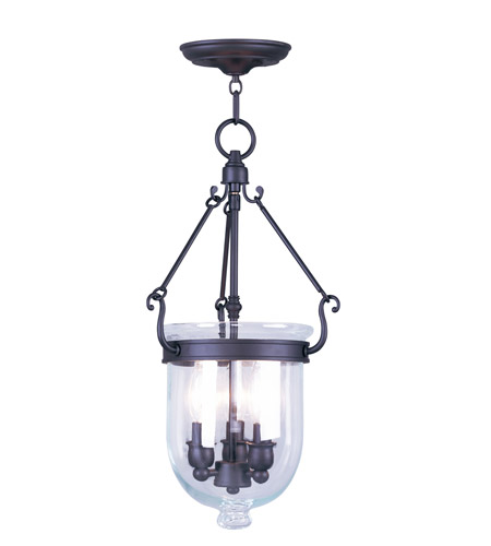 Livex 5063-07 Jefferson 3 Light 10 inch Bronze Pendant Ceiling Light in Clear photo