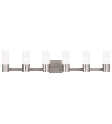 36 Vanity Light Brushed Nickel : Livex 50685-91 Midtown 6 Light 36 inch Brushed Nickel Vanity Light Wall Light