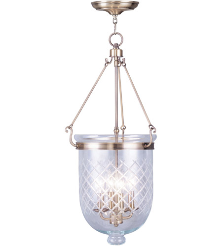 Livex 5075-01 Jefferson 4 Light 14 inch Antique Brass Pendant Ceiling Light photo