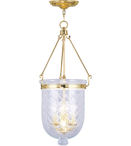 Livex 5075-02 Jefferson 4 Light 14 inch Polished Brass Pendant Ceiling Light photo
