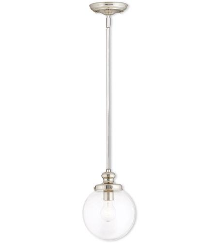 Livex 50902-35 Sheffield 1 Light 8 inch Polished Nickel Mini Pendant  Ceiling Light