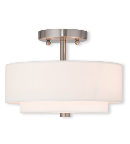Livex 51042 91 Claremont 2 Light 11 Inch Brushed Nickel Flush Mount Ceiling  Light Photo