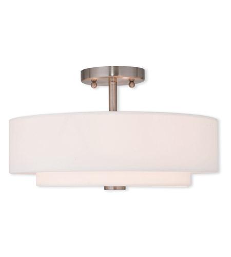 livex claremont 3 light 15 inch brushed nickel flush mount ceiling light