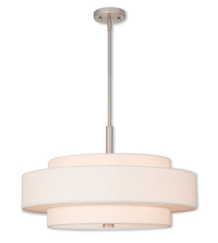 livex meridian 5 light 24 inch brushed nickel pendant ceiling light