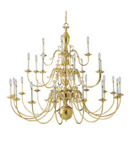 Livex 5345-02 Wakefield 28 Light 60 inch Polished Brass Chandelier Ceiling Light photo