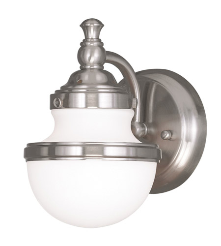 Bathroom Sconces Brushed Nickel livex 5711-91 oldwick 1 light 6 inch brushed nickel bath wall