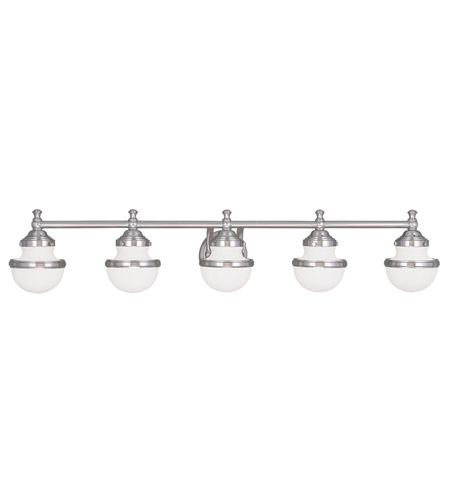 Livex 5715 91 Oldwick 5 Light 42 Inch Brushed Nickel Bath Wall