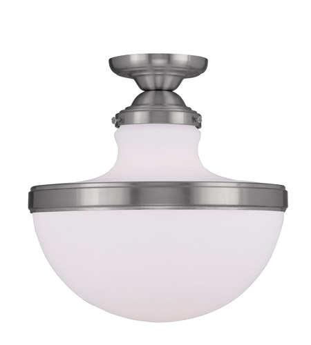 Livex 5723-91 Oldwick 1 Light 13 inch Brushed Nickel Ceiling Mount Ceiling Light photo