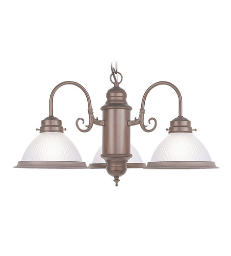 Livex Lighting Home Basics 3 Light Chandelier in Weathered Brick 5992-18 photo