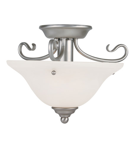 Livex 6109-91 Coronado 1 Light 13 inch Brushed Nickel Ceiling Mount Ceiling Light in White Alabaster photo