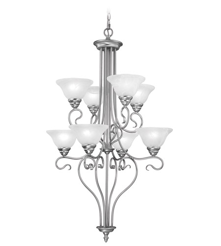 Livex 6118-91 Coronado 8 Light 27 inch Brushed Nickel Chandelier Ceiling Light in White Alabaster photo