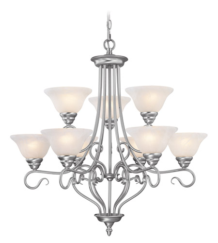 Livex 6119-91 Coronado 9 Light 31 inch Brushed Nickel Chandelier Ceiling Light in White Alabaster photo
