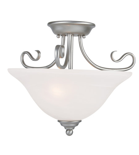Livex 6121-91 Coronado 2 Light 16 inch Brushed Nickel Ceiling Mount Ceiling Light in White Alabaster photo