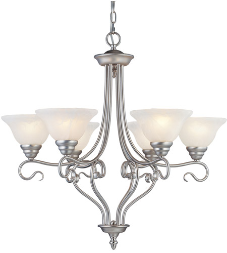Livex 6126-91 Coronado 6 Light 29 inch Brushed Nickel Chandelier Ceiling Light in White Alabaster photo