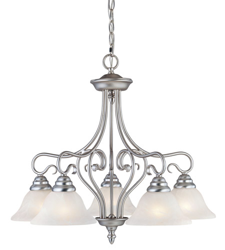 Livex 6135-91 Coronado 5 Light 26 inch Brushed Nickel Chandelier Ceiling Light in White Alabaster photo