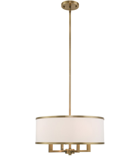 Livex 62615-01 Park Ridge 4 Light 18 inch Antique Brass Pendant Chandelier Ceiling Light photo thumbnail