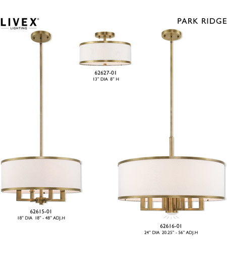 Livex 62615-01 Park Ridge 4 Light 18 inch Antique Brass Pendant Chandelier Ceiling Light alternative photo thumbnail