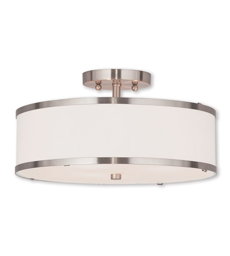 Livex 62628 91 park ridge 3 light 15 inch brushed nickel semi flush mount ceiling light