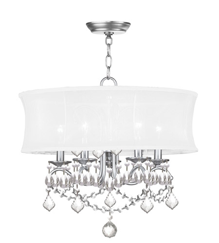 Livex 6305-91 Newcastle 5 Light 20 inch Brushed Nickel Chandelier Ceiling Light in White Silk Shimmer photo