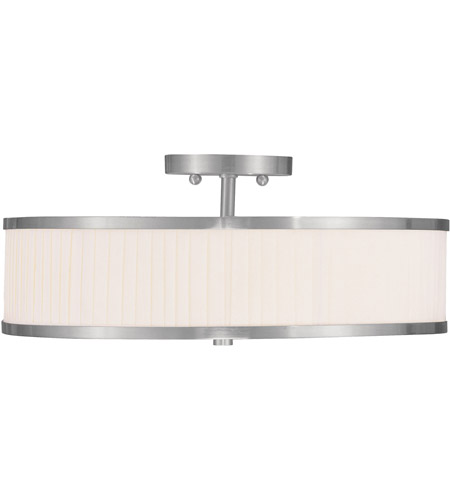 Livex Lighting Park Ridge 3 Light Ceiling Mount in Brushed Nickel 6351-91 photo