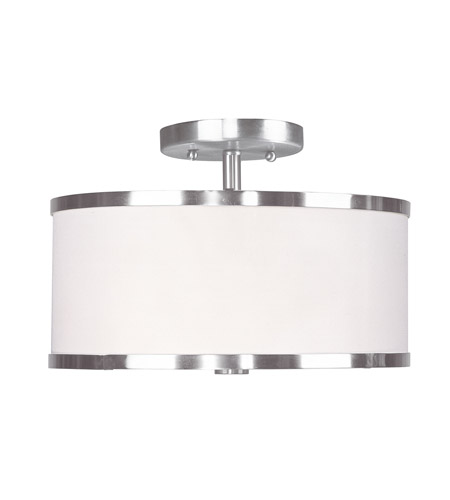 Livex Lighting Park Ridge 2 Light Ceiling Mount in Brushed Nickel 6366-91 photo