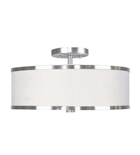 Livex Lighting Park Ridge 3 Light Ceiling Mount in Brushed Nickel 6368-91 photo