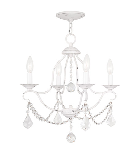 Livex 6424-60 Chesterfield 4 Light 18 inch Antique White Mini Chandelier  Ceiling Light photo - Livex 6424-60 Chesterfield 4 Light 18 Inch Antique White Mini