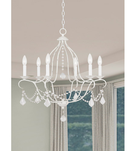 Livex 6426-60 Chesterfield 6 Light 25 inch Antique White Chandelier Ceiling Light alternative photo thumbnail