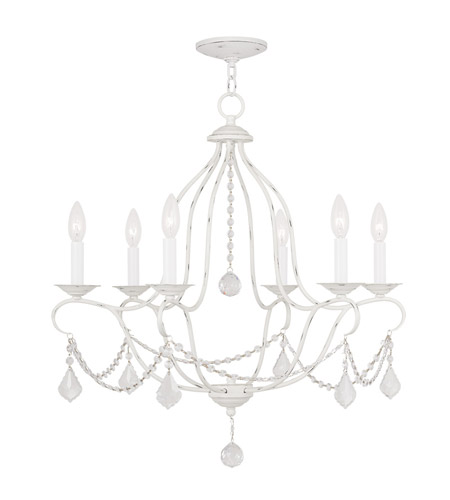Livex 6426-60 Chesterfield 6 Light 25 inch Antique White Chandelier Ceiling Light photo thumbnail