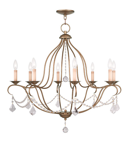 Livex 6428-48 Chesterfield 8 Light 32 inch Antique Gold Leaf Chandelier  Ceiling Light - Livex 6428-48 Chesterfield 8 Light 32 Inch Antique Gold Leaf