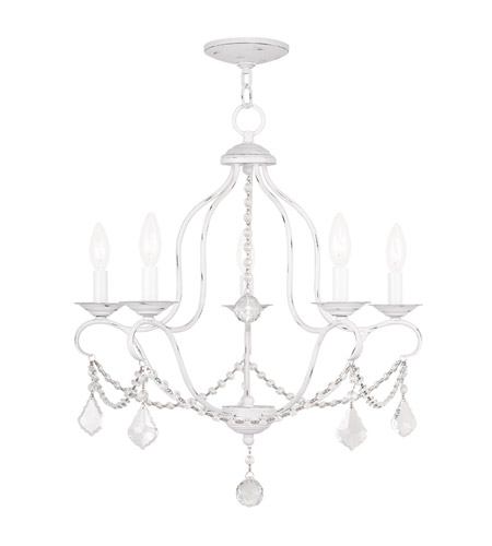 Livex 6435-60 Chesterfield 5 Light 22 inch Antique White Chandelier Ceiling  Light - Livex 6435-60 Chesterfield 5 Light 22 Inch Antique White Chandelier