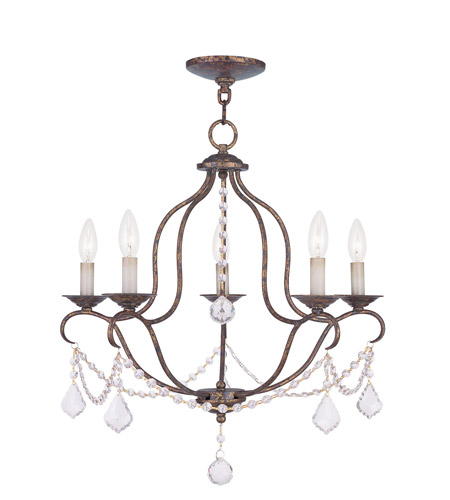 Livex 6435-71 Chesterfield 5 Light 22 inch Venetian Golden Bronze Chandelier Ceiling Light photo