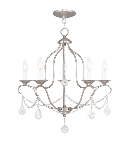 Livex 6435-91 Chesterfield 5 Light 22 inch Brushed Nickel Chandelier Ceiling Light photo thumbnail