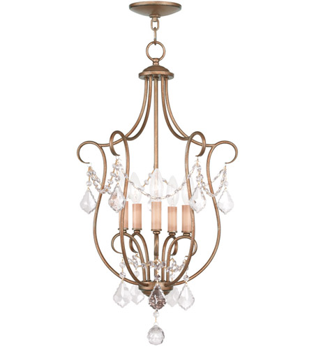 Livex 6436-48 Chesterfield 5 Light 16 inch Antique Gold Leaf Foyer Pendant Ceiling Light photo