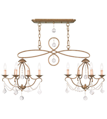 Livex 6437-48 Chesterfield 8 Light 43 inch Antique Gold Leaf Island/Chandelier Ceiling Light photo