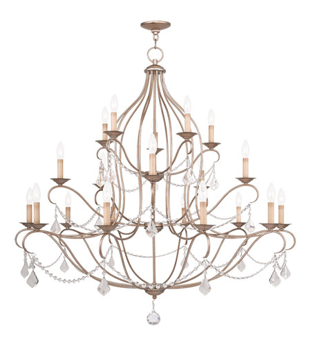 Livex 6439-73 Chesterfield 20 Light 46 inch Antique Silver Leaf Chandelier Ceiling Light photo thumbnail